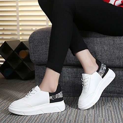 Btrada Womens Flat Platform Casual Sneakers Trendy Rivet Lace-up Tacco Alto Zeppa Wakling Sneaker Scarpe Nere