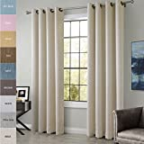 ChadMade Extra Wide Cotton Rayon Chenille Blackout Insulated Thermal Curtain Panel Drapes Beige 120Wx84L Inch (1 Panel) Anti- Bronze Grommet / Eyelet Top