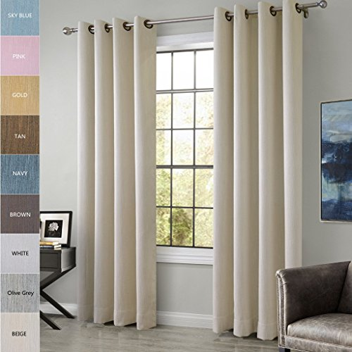 ChadMade Extra Wide Cotton Rayon Chenille Blackout Window Curtain Panel  Drapes Beige 120W X 96L Inch (1 Panel) Antique Bronze Grommet/Eyelet Top