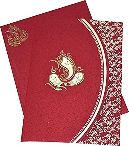 Wedding Card | Ganeshji Designed Mehroon Coloured Beautiful Wedding Invitation Card