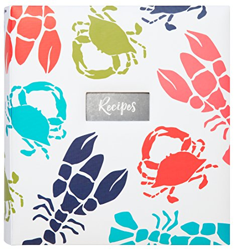 C.R. Gibson Beach House and Nautical Décor Lobster and Crab Themed Kitchen Recipe Binder, 11'' W x 12'' L x 2.5'' D by C.R. Gibson