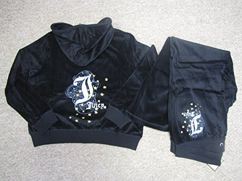 Juicy Couture Women Tracksuit 2x Black Velour Sweat Suit Jacket (Hoodie) and Pants Full Set