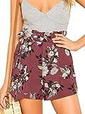 SheIn Women's Tie Waist Inseam Pocket Side Plaid Shorts Floral Medium