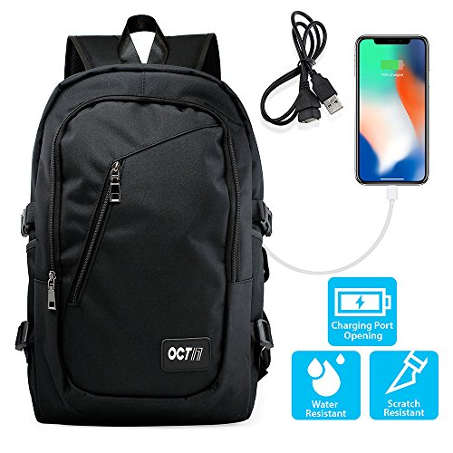 Oct17 Business Laptop Backpack, Slim Anti Theft Computer Bag, Water-resistent College School Backpack with Headphone Port, Eco-friendly Travel Shoulder Bag with USB Charging Port Fits UNDER 17 - Black
