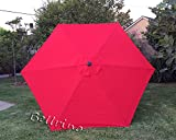 "BELLRINO DECOR Replacement RED "" STRONG & THICK "" Umbrella Canopy for 9ft 6 Ribs Bright Red (Canopy Only) For Sale"