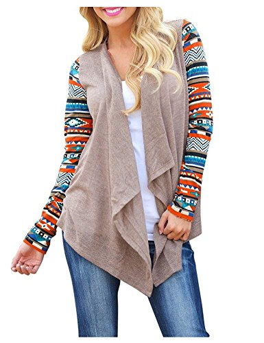 AuntTaylor Ladies Solid Drape Loose Bohemian Poncho Cover Up Tops Khaki M (Native American Clothing Women)