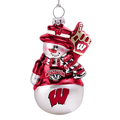 - NCAA Wisconsin Badgers  Glitter Snowman Ornament