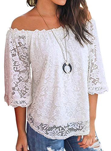 Bloggerlove Women's Boho Off Shoulder Tops Casual Lace Shirts White Loose Blouse