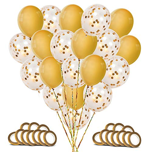 Big Balloons 18 Inch | Premium Large Gold Confetti Balloons | Large Gold Balloons -20 pc - Wedding Balloons, Baby Shower Balloons, Gold Birthday Balloons