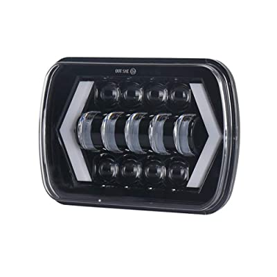 "AMUNIESUN DOT 7x6"" 5x7"" 1PC 6054 Square LED Halo Headlights with Arrow Angel Eyes DRL Turn Signal H4 Plug for Jeep Wrangler YJ Cherokee XJ Trucks Chevy S10 H6014 5054 6052 6053 Sedans GMC: Automotive"
