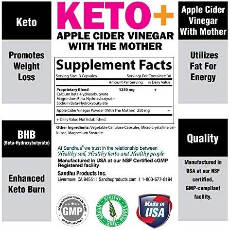 Potent Apple Cider Vinegar with BHB Salts Boosts Ketosis ACV Detox Support Fat Burner & Weight Loss Supplement Keto Pills for Women Men 2 Pack 90 Vegetarian Capsules (180 Count) 3