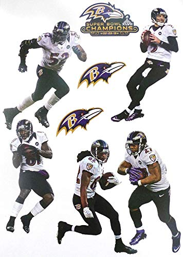 FATHEAD Baltimore Ravens Super Bowl 47 Champions Team Set Official NFL Vinyl Wall Graphics RAY Lewis 8