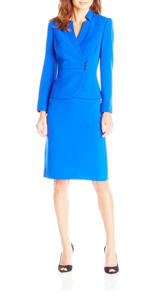 Tahari ASL Asymmetrical Jacket Skirt Suit, 8-P, Ocean Blue