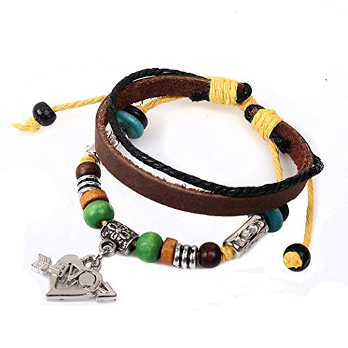 Making Bow And Arrow For Costume (Real Spark Womens Grils Love Gift the Arrow of Love Pendant Leather Beads 3 Layer Charm Wrap Bracelet)