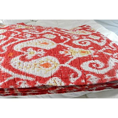 Hot Kantha Quilt Ikat Bedspreads (Red- Twin) for sale