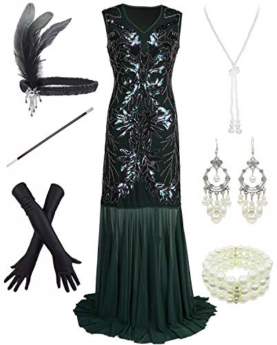 Diy Fringe Flapper Dress (1920s Sequin Mermaid Formal Long Flapper Gown Party Evening Dress with 20s Accessories Set)