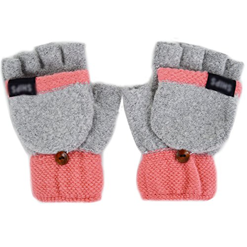 Adela Boutique Women Dual Color Knitting Winter Fingerless Gloves Convertible Flap Cover Warm Mitten Grey ()