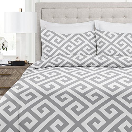 Greek Key Pattern - Italian Luxury Greek Key Pattern Duvet Cover Set - 3-Piece Ultra Soft Double Brushed Microfiber Printed Cover with Shams - King/California King - Light Gray/White