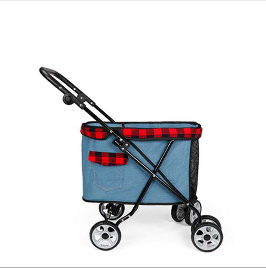Lightbluee Zll Pet Stroller Puppy Pram Dog Travel Pushchair Outdoor Jogger Foldable 4 Wheels Trolley Pets carrier max loading 15 kg,Lightbluee
