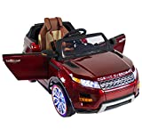 Range Rover Style Premium Ride On Electric Toy Car For Kids - 12V Battery Powered - Color LCD - RC Parental Remote Controller - Leather Seat - Boys and Girls - Red