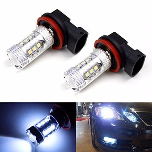 Ecosin Fashion 2X H11 80W LED Fog Tail Driving Car Head Light Lamp Bulb Super White 6000K (Led Fog Lights For Cars 6000k compare prices)