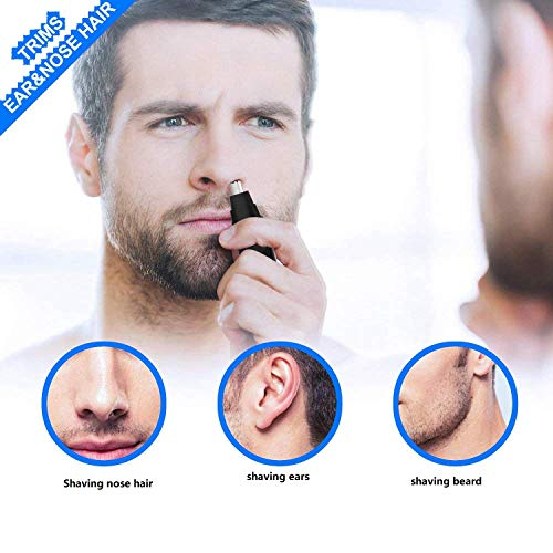 (Maple_Leaf Men's Ear Nose Hair Trimmer with Miniature Razor Head Waterproof Nose Hair Trimmer, Stainless Steel Double-Edged Blade Can Also Be Used As Ear Hair Remover Silent Motor)