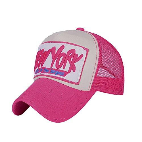 Honofash Gorra Rejilla de Béisbol Hombre Vintage Camioneras Retro Snapback Roja Visera Corta Gorro Mujer Trucker Youth Unisex Curvas Moda Verano Deportivas New York Rosa