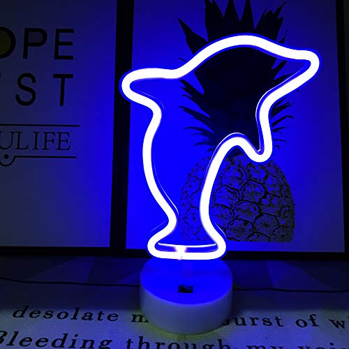 (QiaoFei Cute Dolphin Neon Signs Neon Lights with Holder Base Dorm Decor Light,LED Dolphin Sign Shaped Decor Light,Marquee Signs/Wall Decor for Christmas,Birthday Party,Kids Room,Living Room Decor)