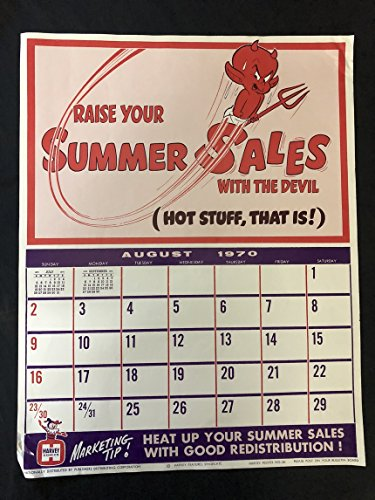 - HOT STUFF Harvey Comics Promo Sales Calendar Poster - August 1970