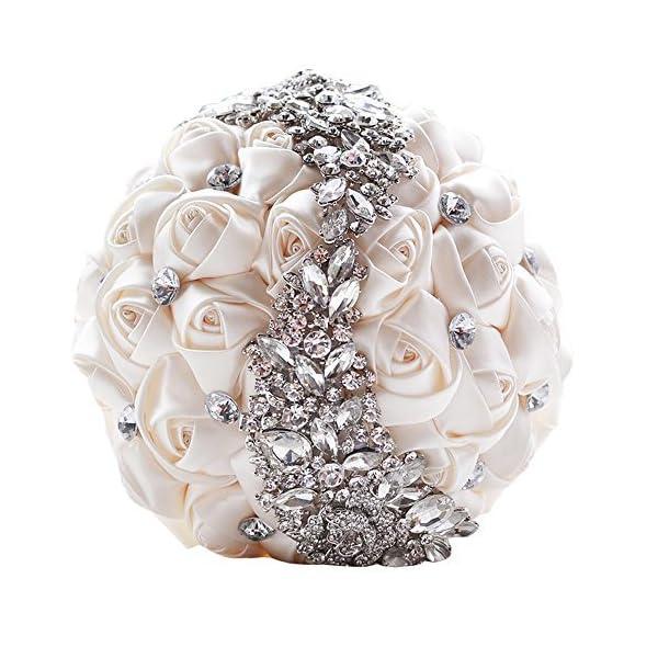 KUKI SHOP Handmade Romantic Silk Roses Meteor Shower Rhinestone Decor Satin Ribbon Wedding Bouquet Bridal Holding Bouquet Bridesmaid Bouqeut Wedding Decoration Flowers (Ivory)