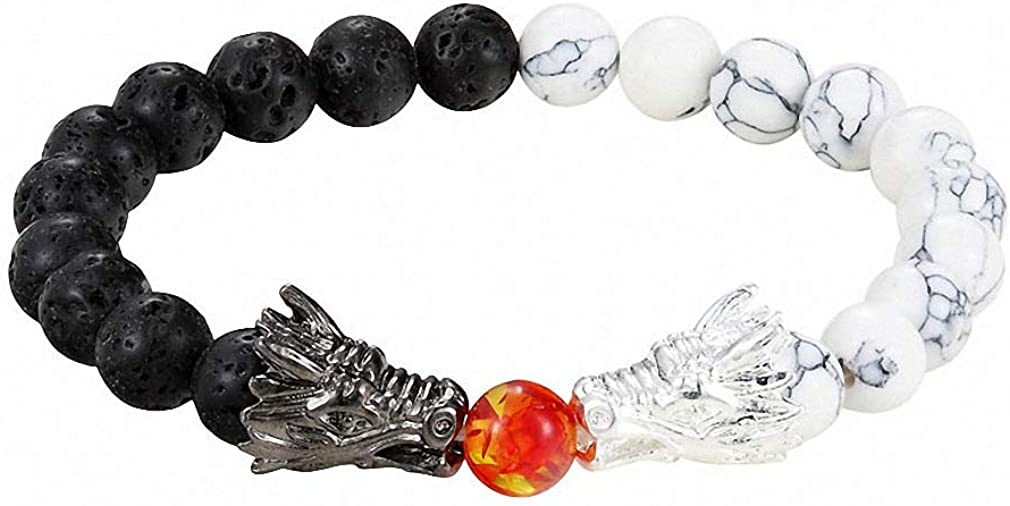 Giwotu Womens Mens Fashion Black and White Beads Bracelet Natural Stone Black Lava Bead Two Dragon Play One Ball Male Female Jewellery