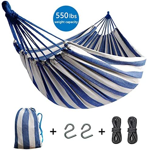 Elife Hammock, Portable 2-Person Brazilian Style Hammock Double Outdoor Indoor Canvas Cotton Hammock Thickened Durable Fabric with 550lb Load Capacity, for Travel, Beach, Backyard, Camping etc