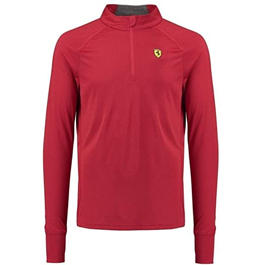 b4e7b76c4ab514 Scuderia Ferrari Formula 1 Men's Red Long Sleeve 1/2 Zip Midlayer Shirt (S