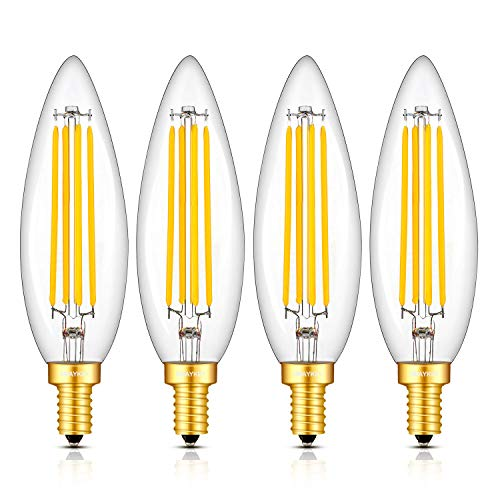 OMAYKEY 8W LED Candelabra Bulb 80W Equivalent 3000K Soft White 800 Lumens Dimmable, E12 Base Vintage Edison Style LED Chandelier Light Bulbs, C35 Lengthened Candle Clear Glass Light Bulbs, Pack of 4 (Candelabra 80w)