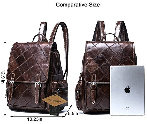 VM FASHION KISS Zipper&hasp Casual Crazy Horse Genuine Leather Backpack vintage Bag by VM FASHION KISS (Image #1)