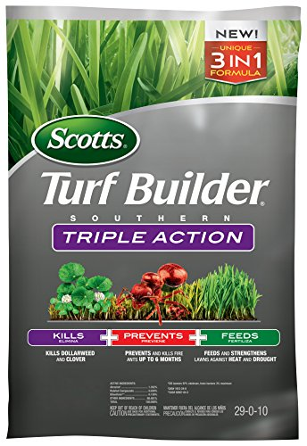 Scotts Turf Builder Southern Triple Action, 26.84 lb. - Kills Dollarweed and Clover, Prevents and Kills Fire Ants, Feeds and Strengthens Lawns - Covers up to 8,000 sq. ft. (Weed And Feed For St Augustine Grass)