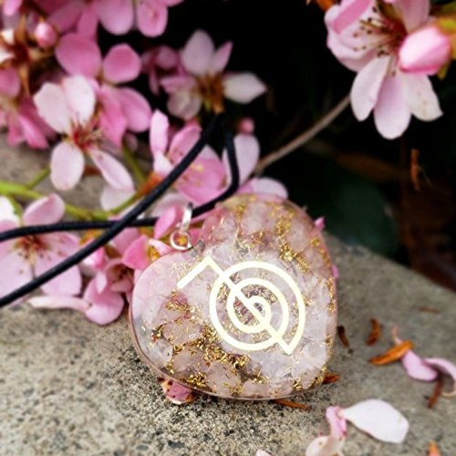 Orgone Heart Shape Pendant Rose Quartz Love Stone Heart Chakra Cleansing Pendant Necklace with Reiki Symbol