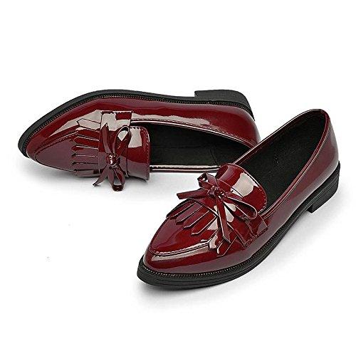 rosso 38 Scarpe basse in studenti Scarpe da Tip da per donna studente Vino yalanshop pelle piccoli ZnS4U6qq