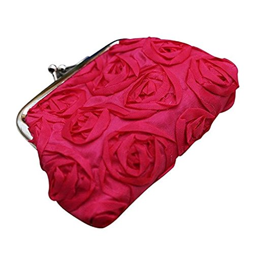 Small Noopvan Coin Red Womens Clearance Sale Bag Purse Wallet Flower Clutch Wallet Handbag Rose Wallet 2018 qH8HnxrY
