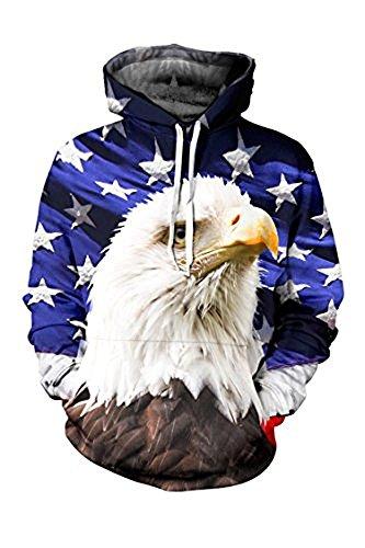 Black Memory Unisex Realistic 3d Digital Print Eagle Pattern White Stars Pullover Hoodie Hooded Sweatshirt S-XL (Eagle Hoodie)