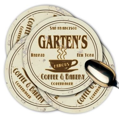 GARTEN'S Coffee Shop & Bakery Coasters - Set of 4
