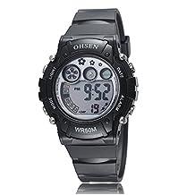 Ohsen Women's Sport Outdoor LED Digital Waterproof Wrist Watch with Calendar/Alarm/Stopwatch/Chronograph-Blue
