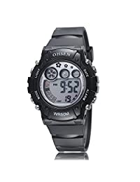 Ohsen Women's Men's Calendar/Alarm/Stopwatch/Chronograph Sport Outdoor LED Digital Waterproof Bracelet Wrist Watch Black
