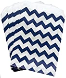 white and blue popcorn bags - Outside the Box Papers Navy Blue and White Chevron Treat Sacks 48 Pack 5.5 x 7.5 Navy Blue, White