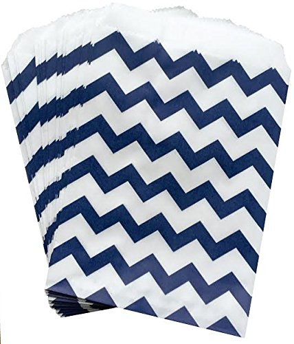 Outside the Box Papers Navy Blue and White Chevron Treat Sacks 48 Pack 5.5 x 7.5 Navy Blue, (Candy Bar Crafts Halloween)