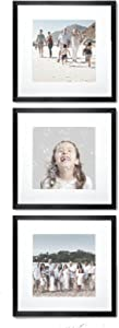 Sheffield Home Decor Collection- 3 Piece Picture Frame Set, Gallery Set, 12x12in, Matted to 8x8in (Matte Black)