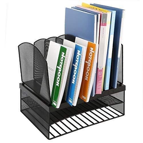 CRUODA Desktop Organizer File Rack with 6 Vertical/ 2 Horizontal Sections, Black Mesh Metal Office Desk Shelf, for Documents, Magazines, Notebooks