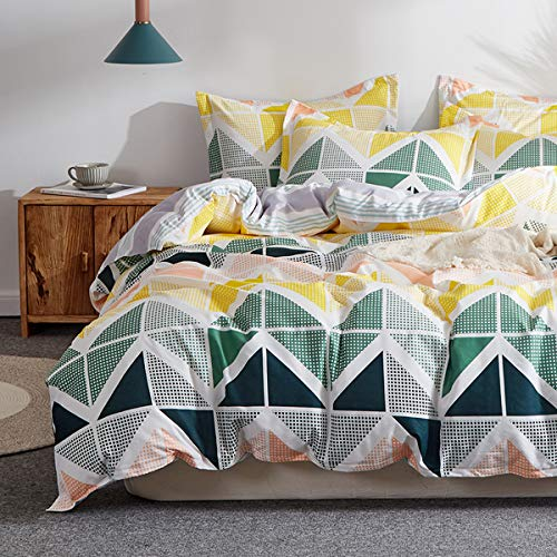 Set Cube Comforter (Uozzi Bedding 3 Piece Colorful Duvet Cover Set Queen Green Black Yellow Cubes Pattern,Microfiber Comforter Cover with Ties and Zipper Morden Style Adult 3PC Bedding Set (Green Yellow, Twin))
