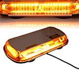 T Tocas 44 LED High Intensity Law Enforcement Emergency Hazard Warning Flashing Car Truck Construction LED Top Roof Mini Bar Strobe Light with Magnetic Base (Amber(Yellow))