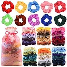 60 Pcs Premium Velvet Hair Scrunchies Hair Bands for Women or Girls Hair Accessories,Great Gift for halloween Thanksgiving day and Christmas